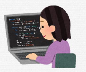 中学女子が💻で仕事をする